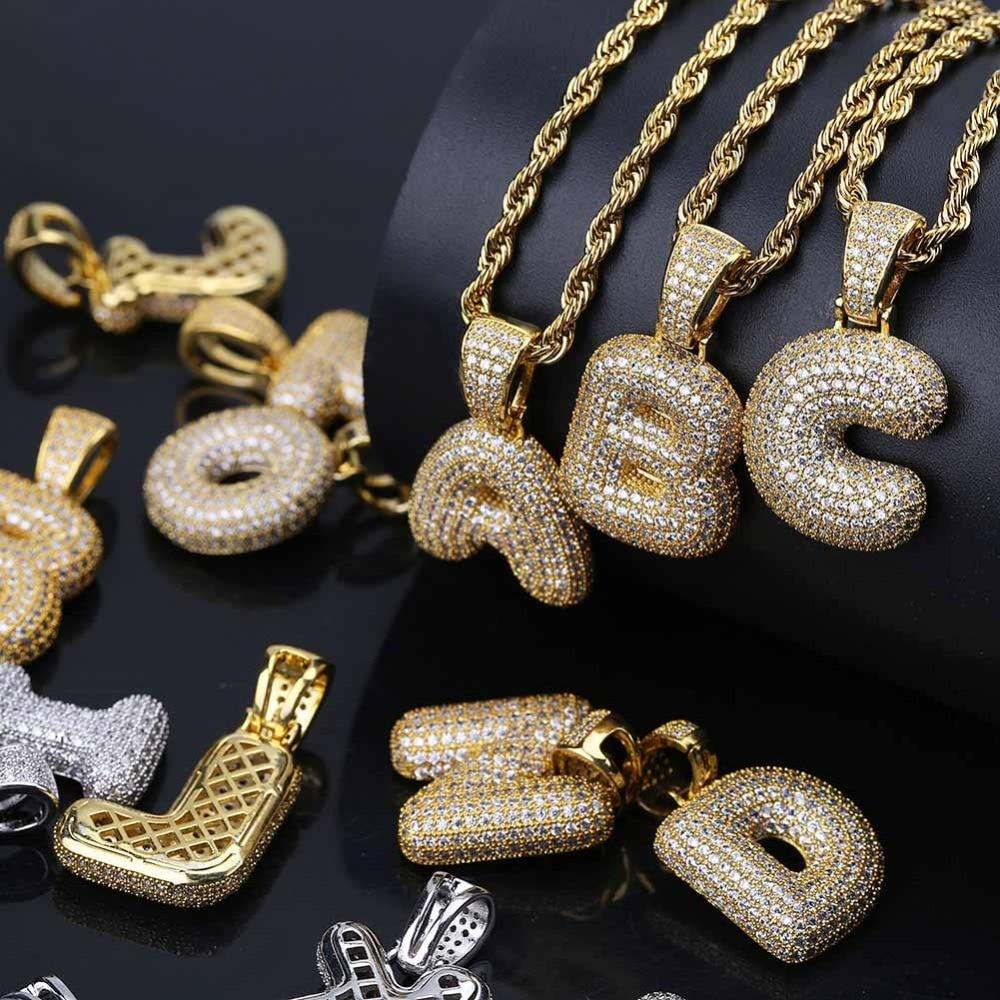 Iced Out Bubble Letters Pendant & Chain