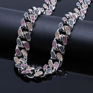18mm 4 Color CZ Iced Out Cuban Chain