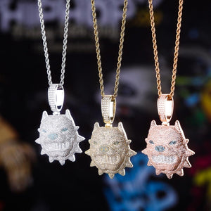 Iced Out Pit Bull Pendant & Chain