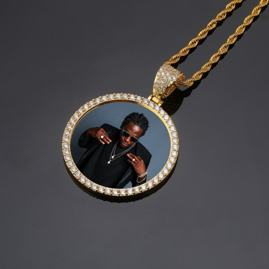 Custom Made CZ Photo Medallion With 4mm Tennis Chain