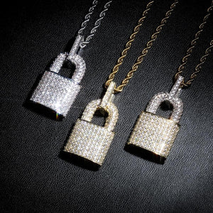 Iced Out Micro Pave CZ Lock Pendant & Chain