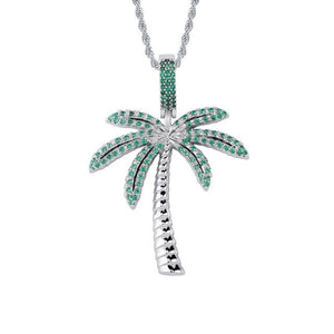 Iced Out Palm Tree Pendant & Chain