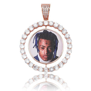 Custom Made Photo Double-Sided Rotating Medallion With 4mm Tennis Chain