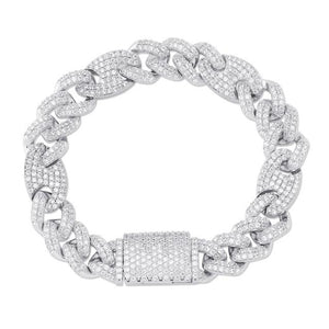 12mm Iced Out Big Box Clasp CZ Figaro Link Bracelet