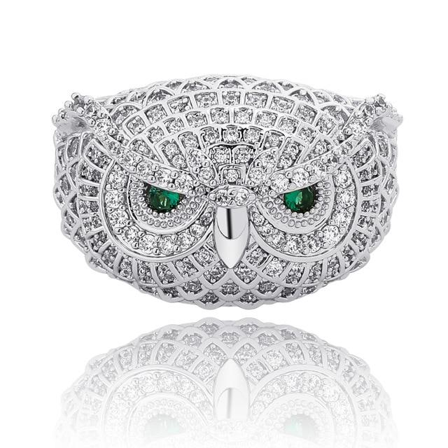 Iced Out Owl CZ Ring