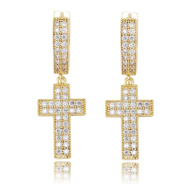 Iced Out Double Row Hanging Cross Earring