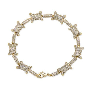 10mm Iced Out Barb Wire Bracelet