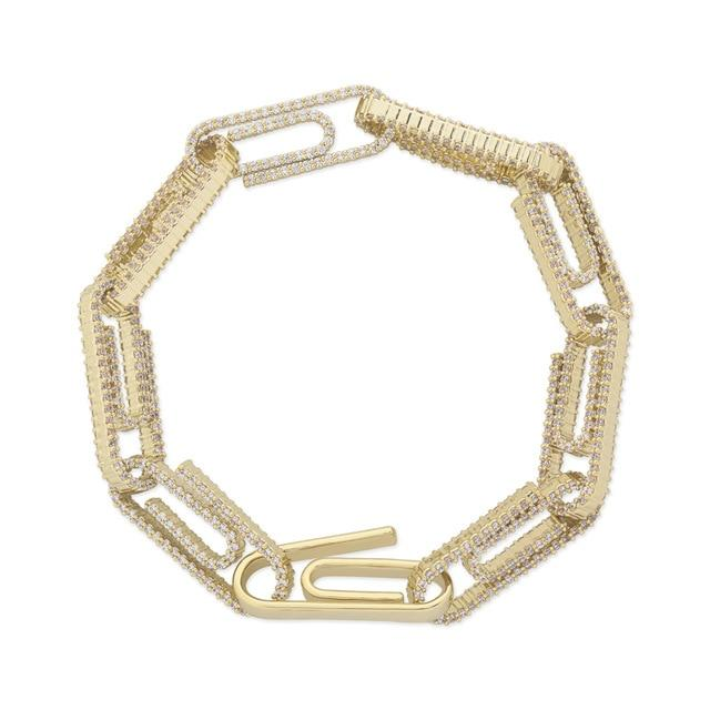 10mm Iced Out Paper Clip Bracelet