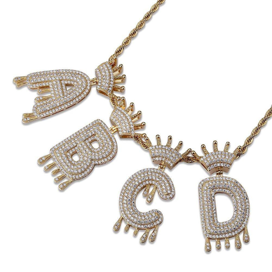 Dripping Crowned Iced Out Bubble Letter Pendant & Chain