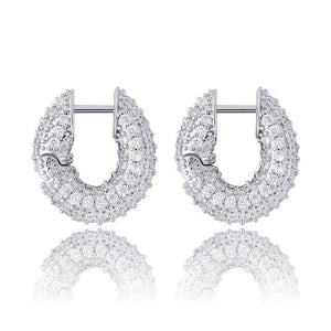 Micro Pave CZ Small Loop Earrings