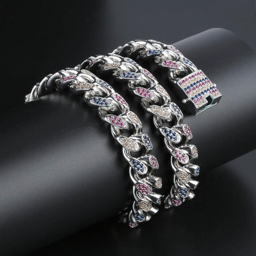 14mm Iced Out Rainbow CZ Cuban Necklace