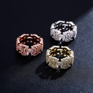 Micro Pave CZ Butterfly Outline Ring Band