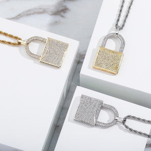 Iced Out Premium Lock Pendant & Chain
