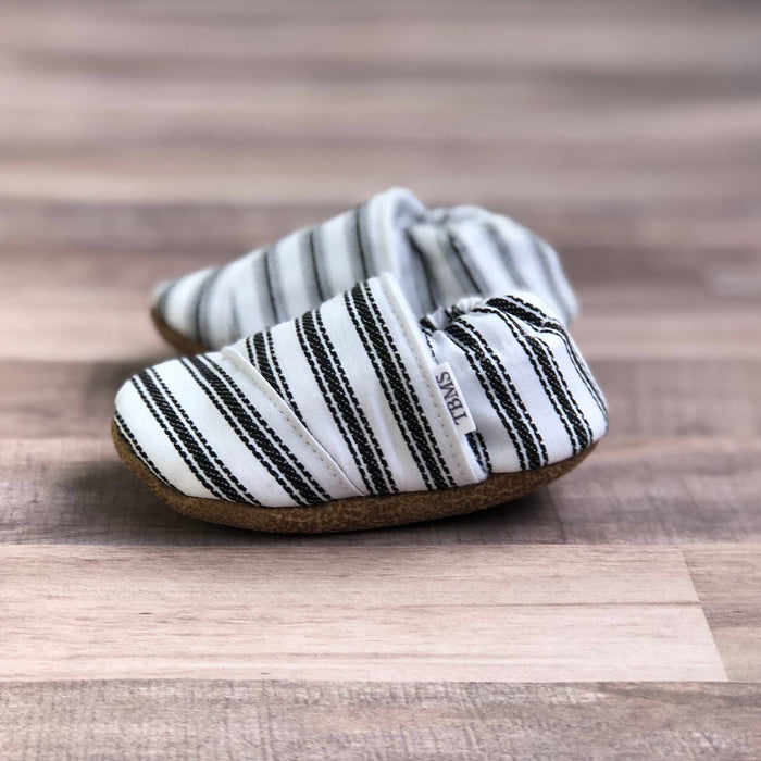 Black and White Nautical Stripes Angled Moccasins