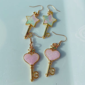 Kawaii Dainty Pastel Rainbow Key Earrings Pick One
