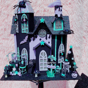 2020 Halloween Putz House Spooky Mint and Lavender Fortune Teller House