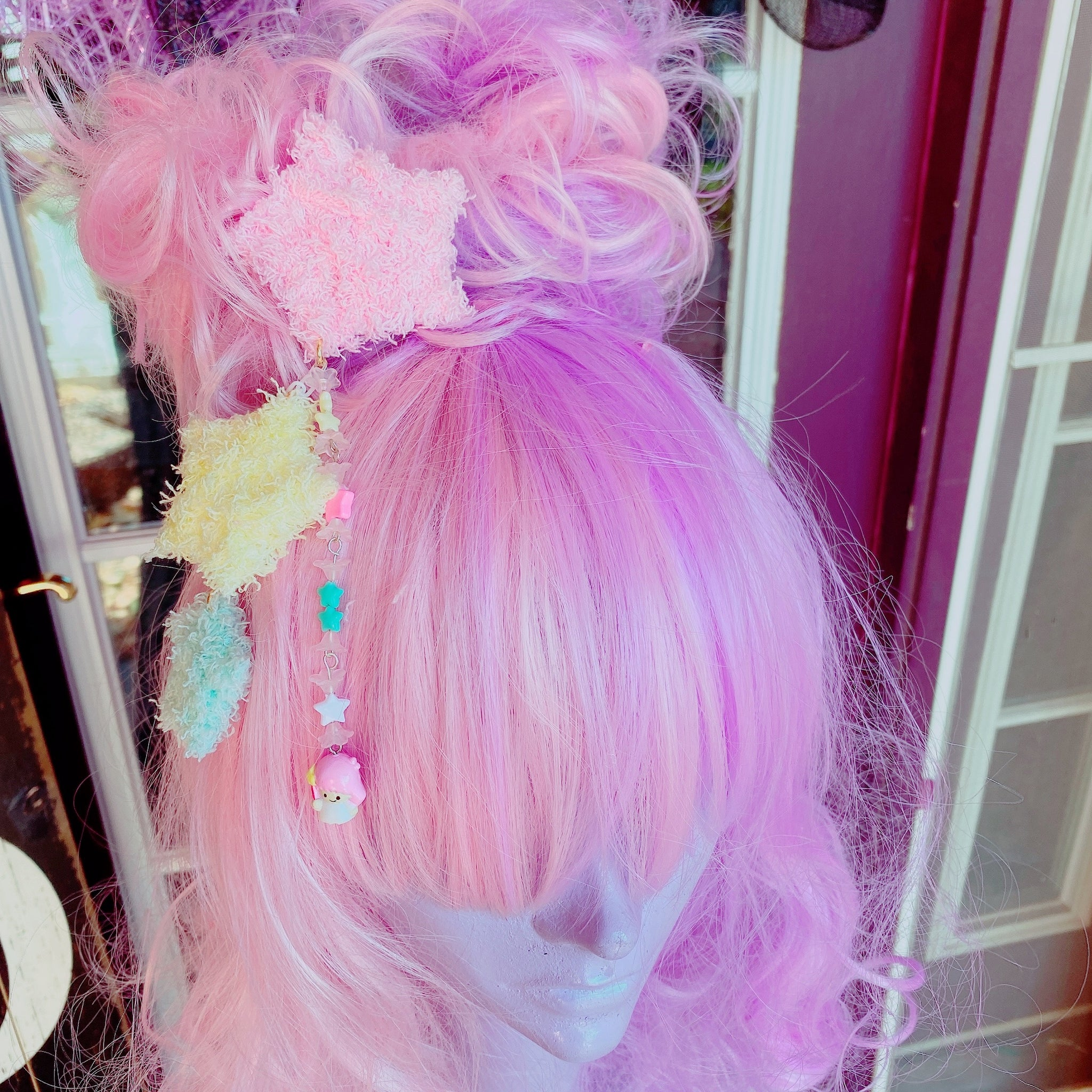 Little Twin Stars Fuzzy Star 2 Way Dangle Hair Clip Chocomint Inspired Pastel Fairy Kei Sweet Lolita Kawaii Stars