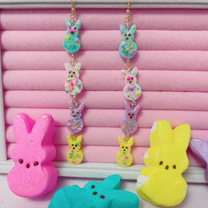 Frutti Pebble peep Bunny dangle Earrings