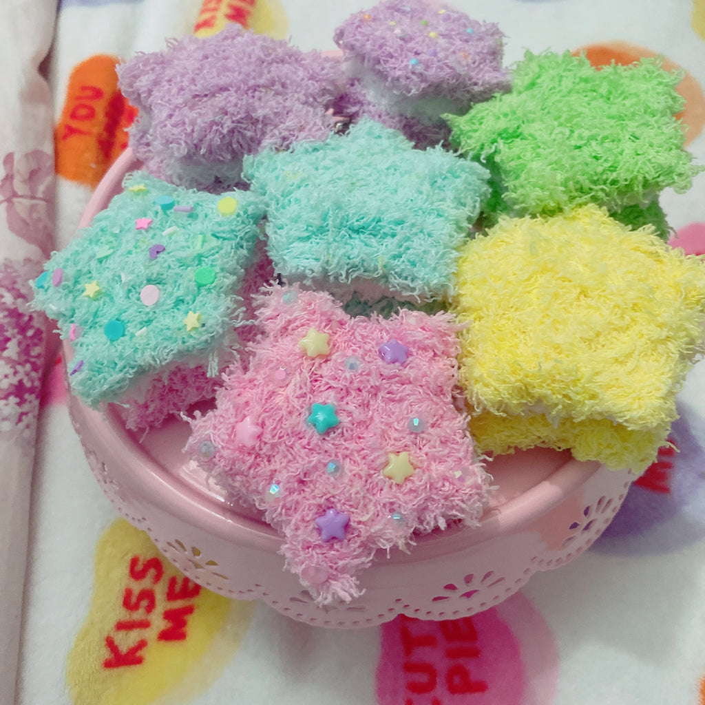Fuzzy Star Macaron Hair Clips Pick One PLAIN Fairy Kei Sweet Lolita Fashion Kawaii Fuzzy Star