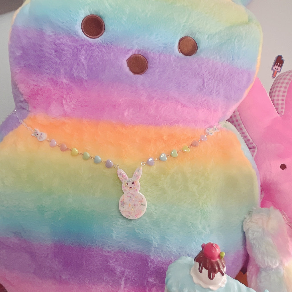 Kawaii Pastel White Frutti Pebble Peep Necklace Lavender Pastel Peep