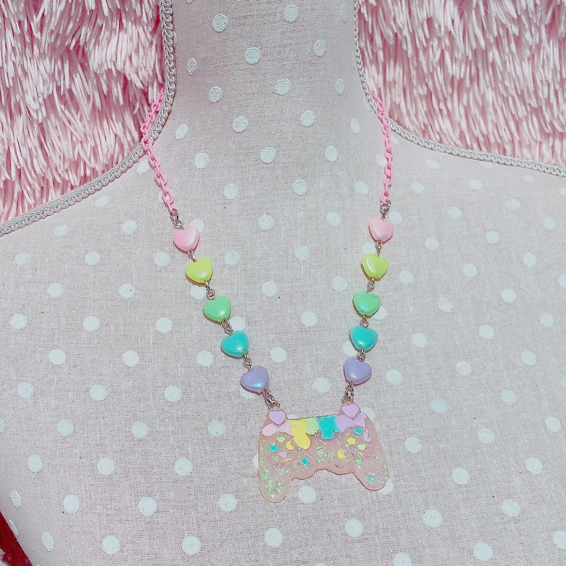 Kawaii Gamer Controller Drippy Rainbow Pastel Necklace