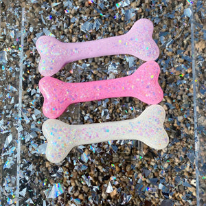 Kawaii Halloween Creepy Cute Pastel Goth Large Glitter Bone Hair Clip