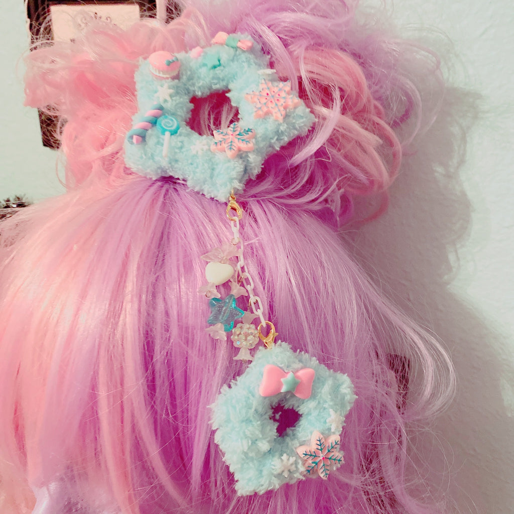 Blue Winter Fuzzy Star 2way Dangle Hair Clip