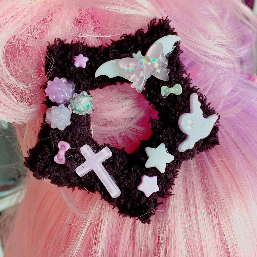 Pastel Goth Halloween Fuzzy Star 2 Way Hair Clip Creepy Cute