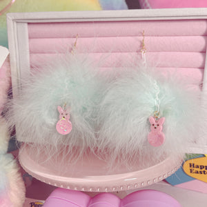 Fairy Kei  Peep Bunnie Fluffy Tail Dangle Earrings