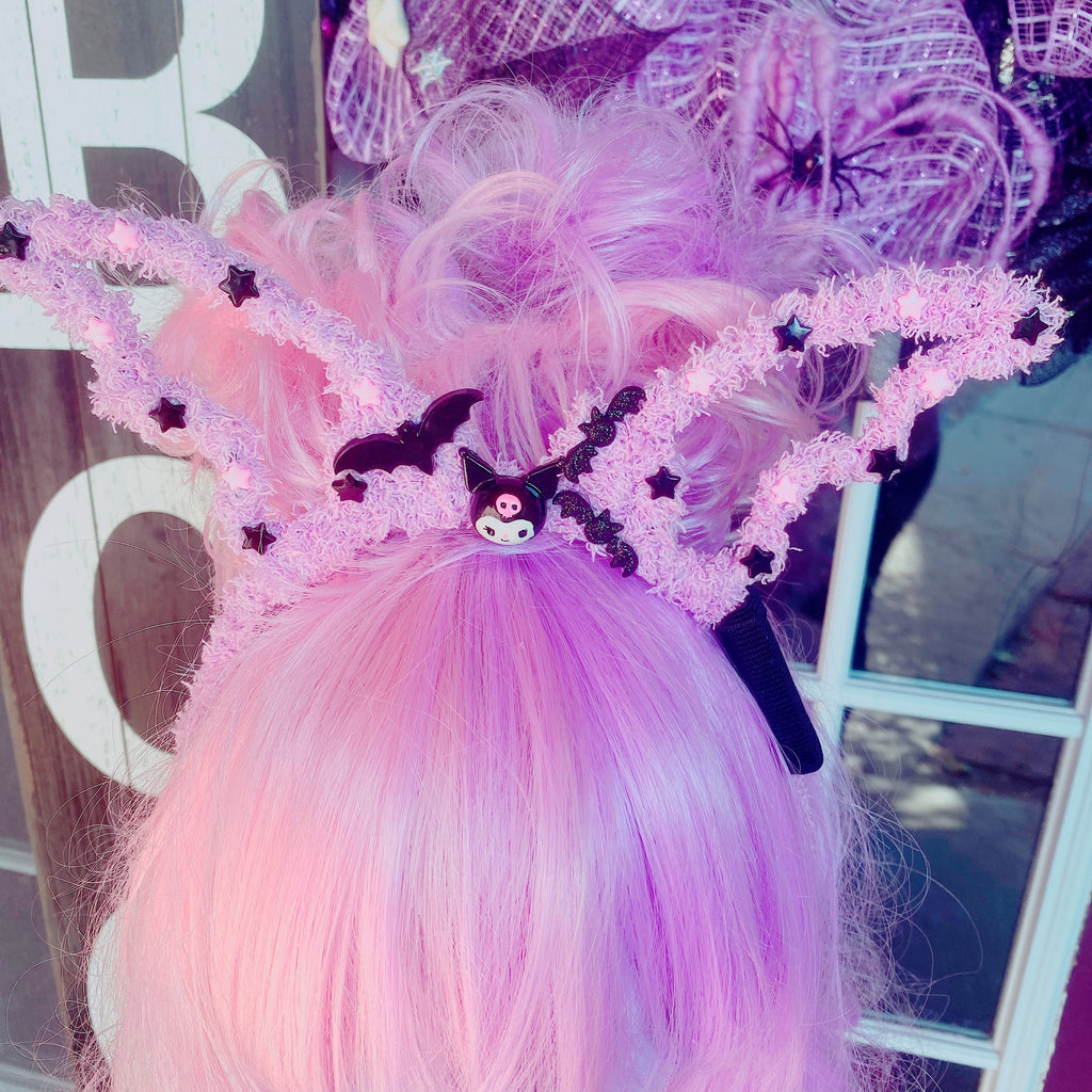 Halloween Creepy Cute Fuzzy Bat Wing Headband Kuromi Lavender