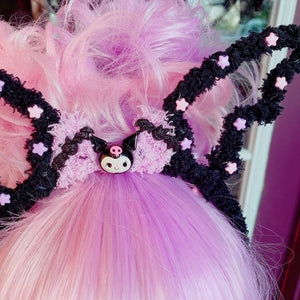 Halloween Kawaii Kuromi Fuzzy Bat Wing Headband Lights Up Pastel Goth Creepy Cute Kuromi