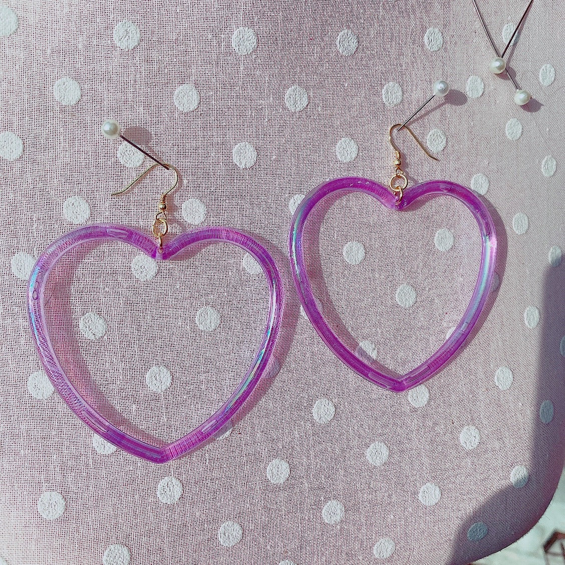 Kawaii Pastel Fairy Kei Hearts Hoop Earrings Pick One