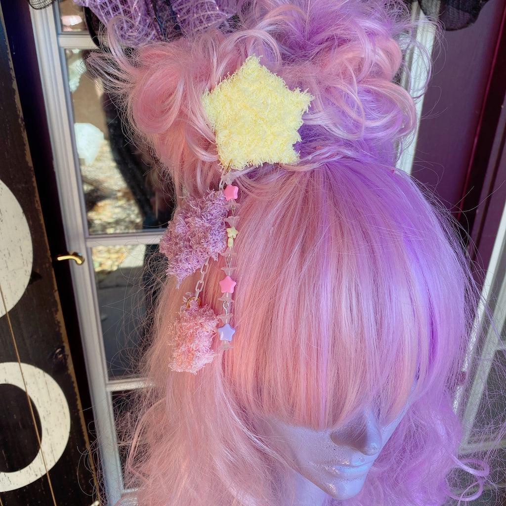 Yellow Fuzzy Star 2 Way Dangle Hair Clip Chocomint Inspired Pastel Fairy Kei Sweet Lolita Kawaii Stars