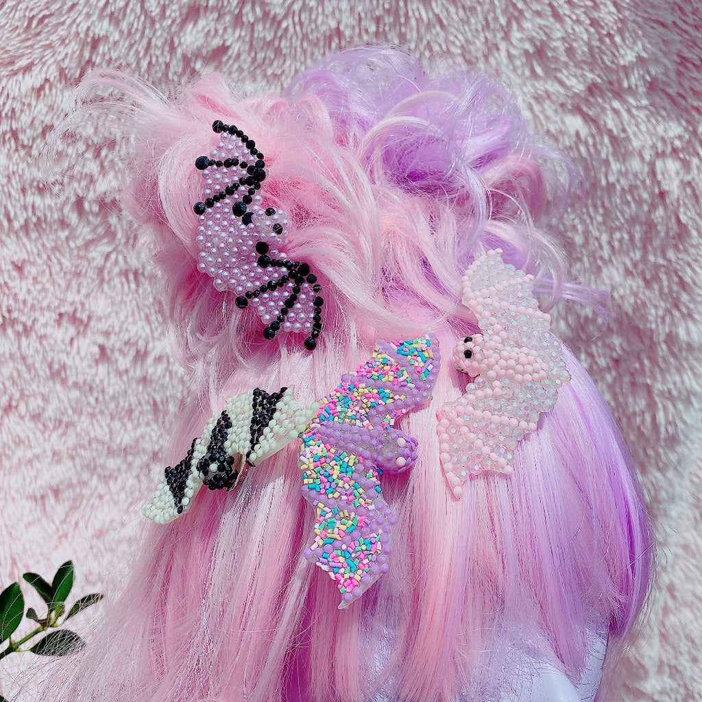 Creepy Cute Pastel Goth Rhinestone Bat Hair Clips Halloween