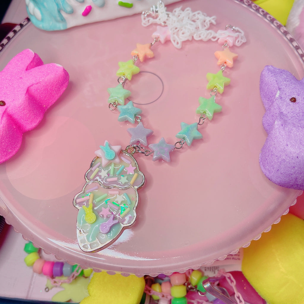 Peep Rainbow Ice Cream necklace