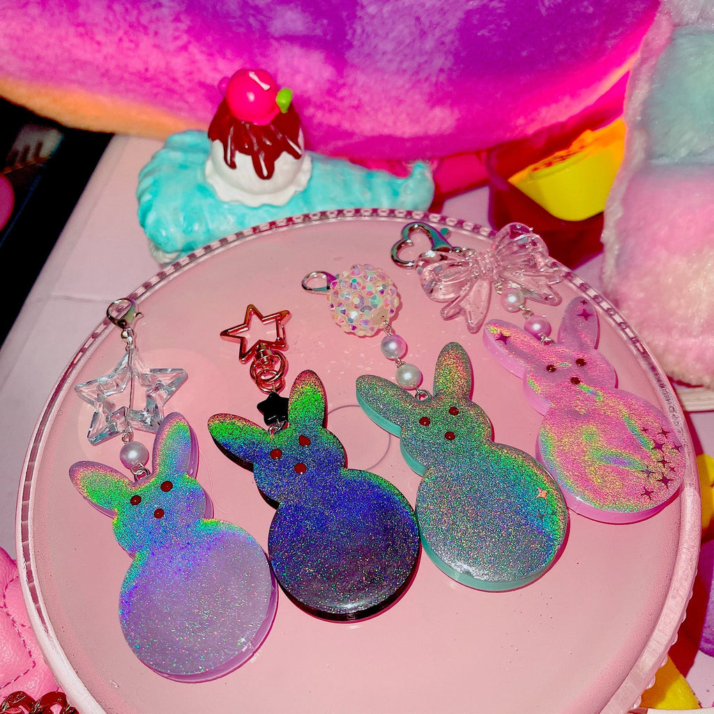 Detailed Holo Peep Bunny pastel charms Pick one