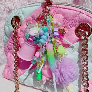 Kawaii Fairy Kei Gumball Junk Drawer Candy Charm Rainbow Resin Bag Charm