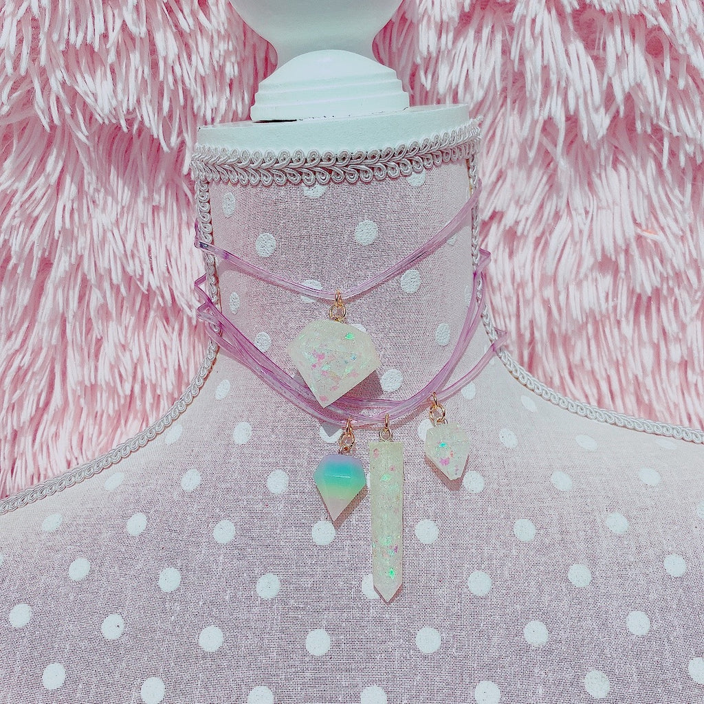Kawaii Glitter Crystal Choker necklaces pastel rainbow crystal