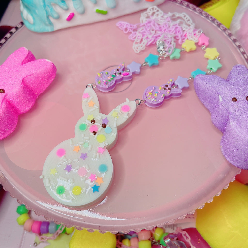 Kawaii Pastel Peep Necklace Rainbow Sprinkle Peep