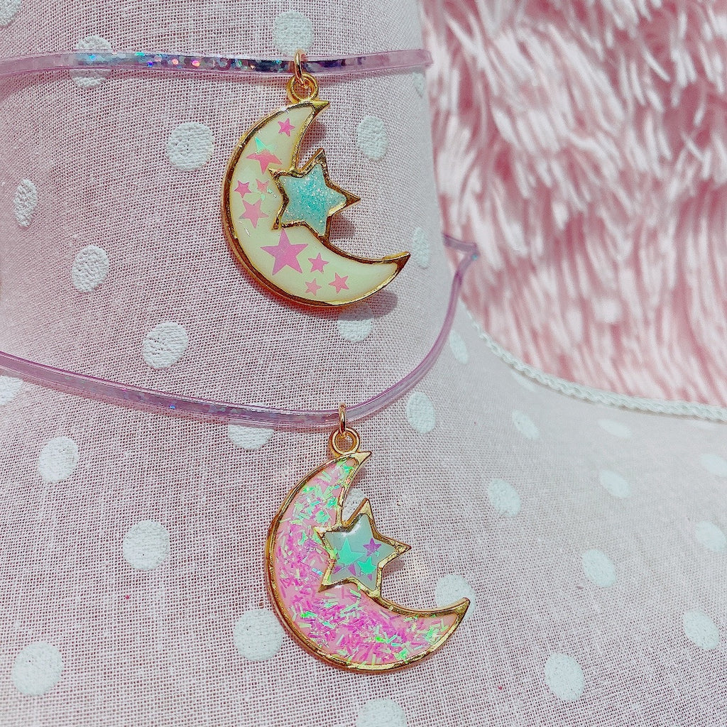Kawaii Fairy Kei Pastel Moon choker necklaces pick one