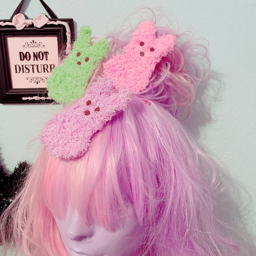 Fuzzy Peep Marshmallow Bunny 2 way Hair Clip Pick One