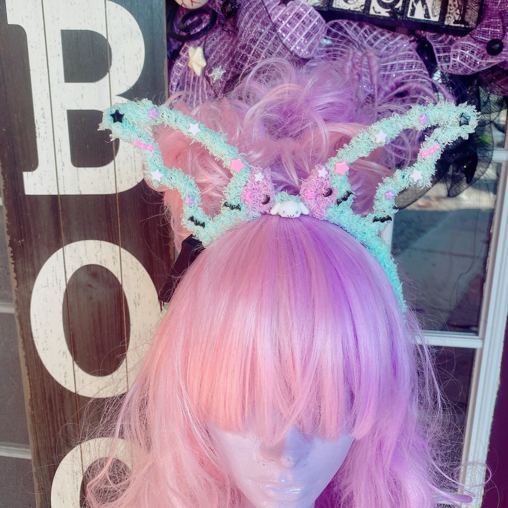 Halloween Creepy Cute Fuzzy Bat headband Light up Cinnamoroll Sanrio