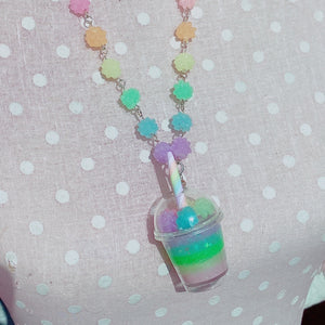 Kawaii  fairy kei Konpeito Bubble Rainbow Tea Necklace