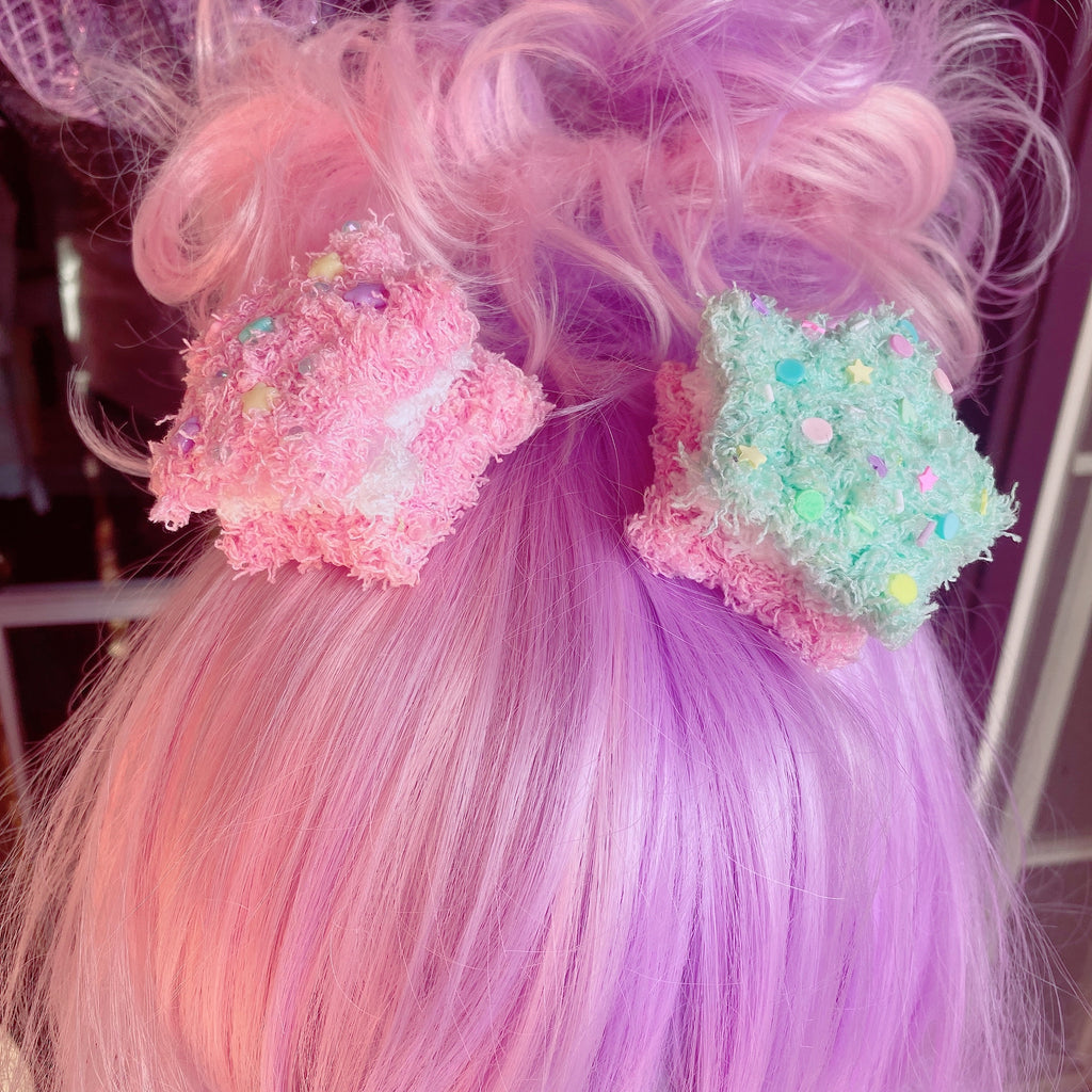 Fuzzy Star Macaron Hair Clips Pick One Sprinkle version Fairy Kei Sweet Lolita Fashion Kawaii Fuzzy Star