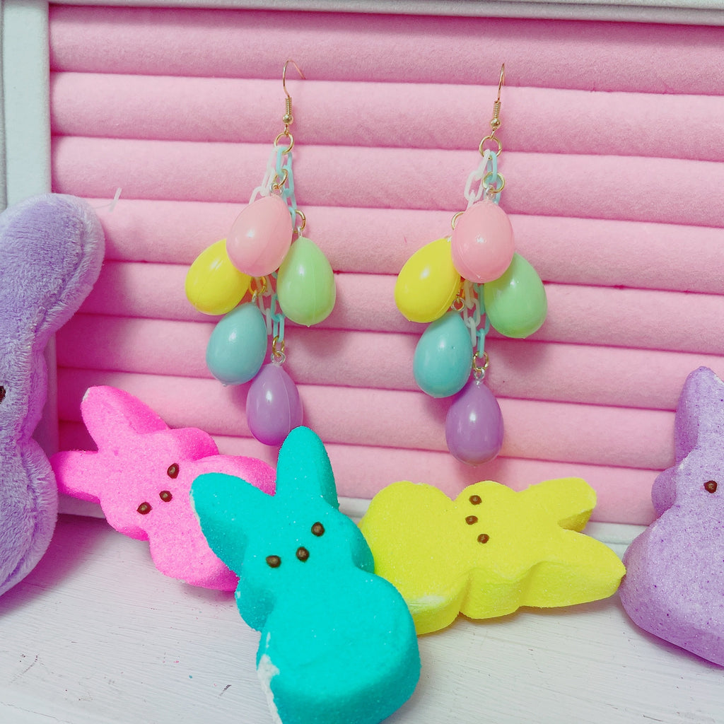 Pastel Easter Egg Rainbow Dangle Earrings