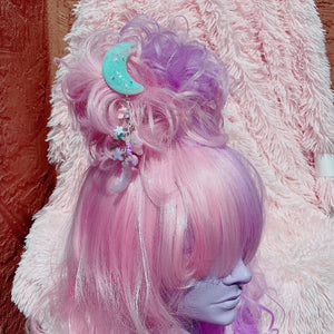 Kawaii Fairy Kei Pastel Dangle Moon Hair Clip