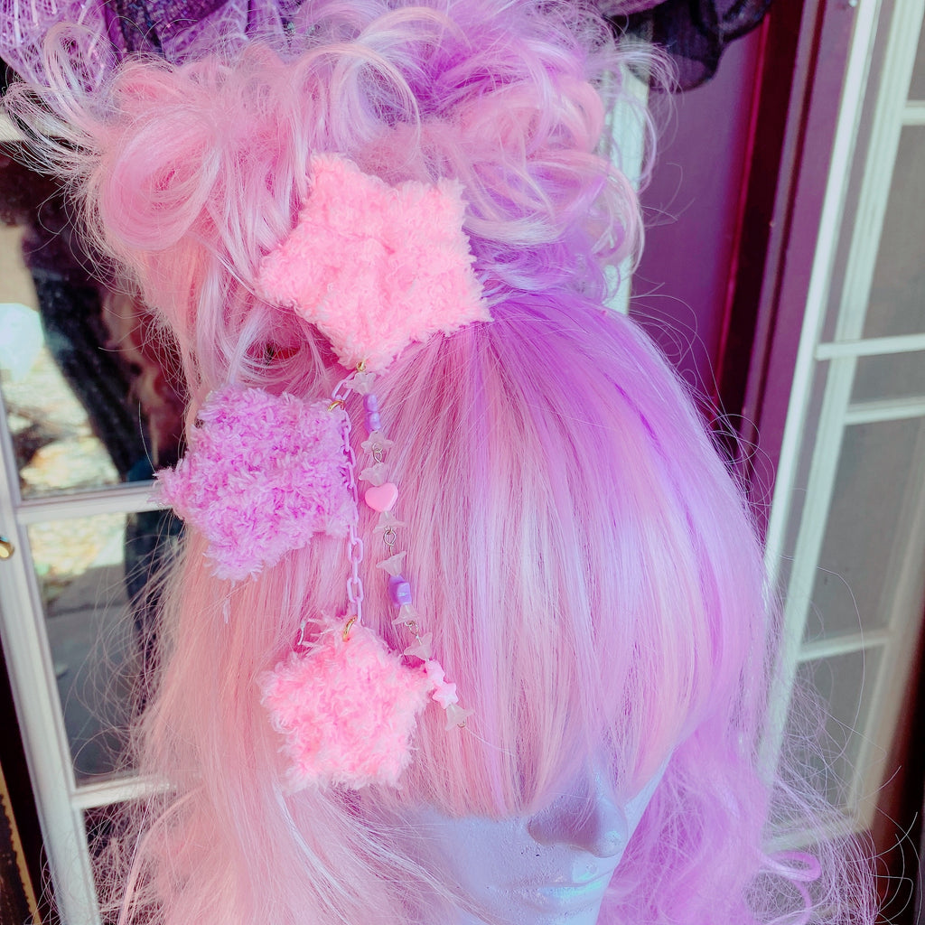 Pink And Purple Fuzzy Star 2 Way Dangle Hair Clip Chocomint Inspired Pastel Fairy Kei Sweet Lolita Kawaii Stars