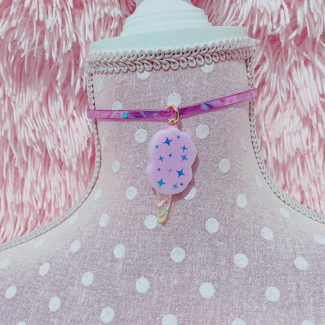 Kawaii Fairy Kei Cotton Candy Choker Necklace