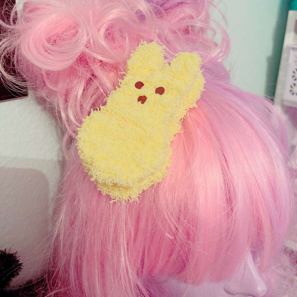 Fuzzy Peep Marshmallow Bunny Macaron Ice Cream Sandwich Hair Clip Pick One