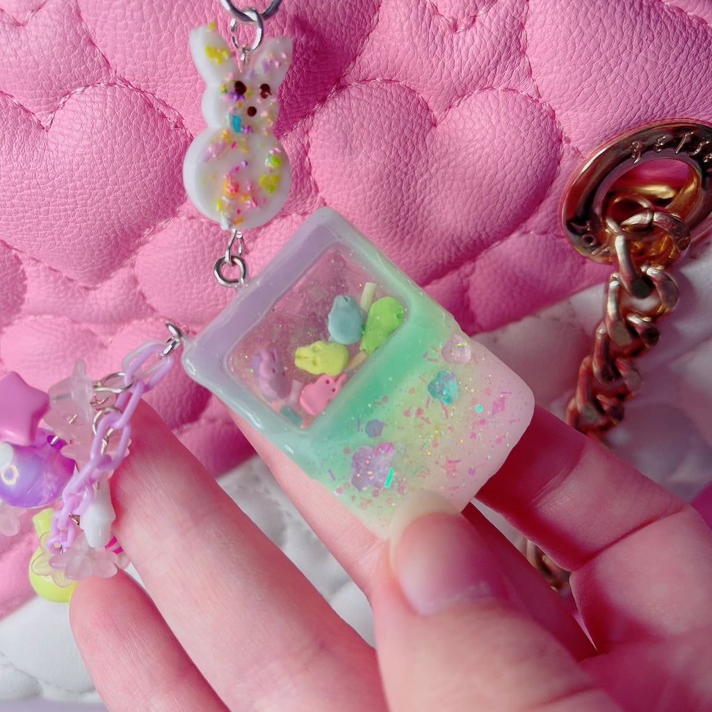 Kawaii Pastel Rainbow Gameboy Peep  Bag charm